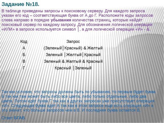 Задание №18. В таблице приведены запросы к поисковому серверу. Для каждого за...