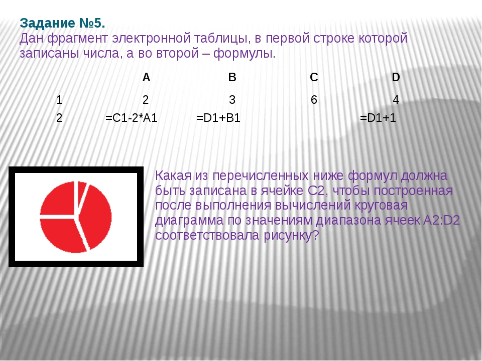 Задание №5. Дан фрагмент электронной таблицы, в первой строке которой записан...