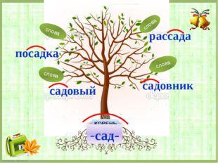 КОРЕНЬ -сад- рассада посадка садовый садовник слова слова слова слова FokinaL