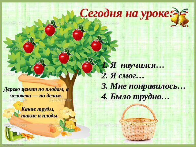 Дерево ценят по плодам, а человека — по делам. Какие труды, такие и плоды. 1....