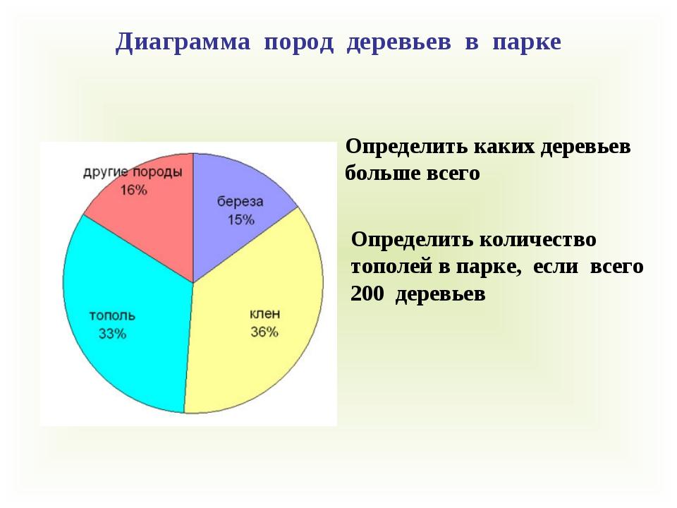 Определить каких деревьев больше всего Диаграмма пород деревьев в парке Опред...