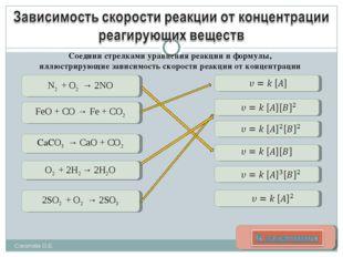 N2 + O2 → 2NO FeO + CO → Fe + CO2 2SO2 + O2 → 2SO3 O2 + 2H2 → 2H2O СаСO3 → Ca