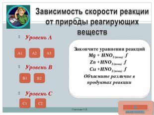 Уровень А Приведите примеры химических процессов, в которых бы прослеживалась