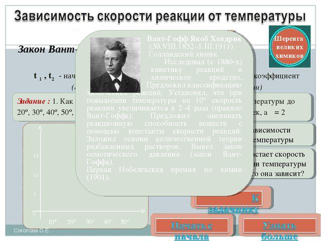 Закон Вант-Гоффа t 1 , t2 - начальная и конечная температура,