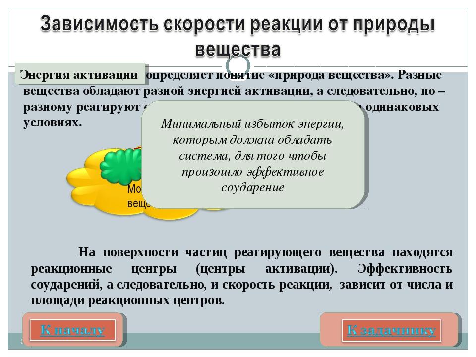 Соколова О.Е. Центры активации Молекула вещества На поверхности частиц реаги...