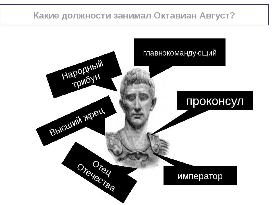 Какие должности занимал Октавиан Август? проконсул главнокомандующий Народный...