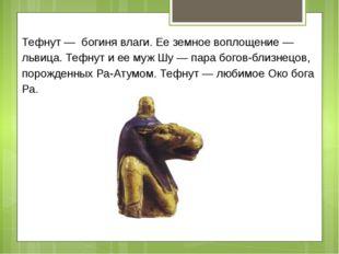 Тефнут — богиня влаги. Ее земное воплощение — львица. Тефнут и ее муж Шу — па