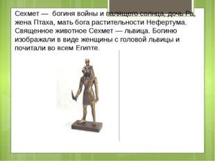 Сехмет — богиня войны и палящего солнца, дочь Ра, жена Птаха, мать бога расти