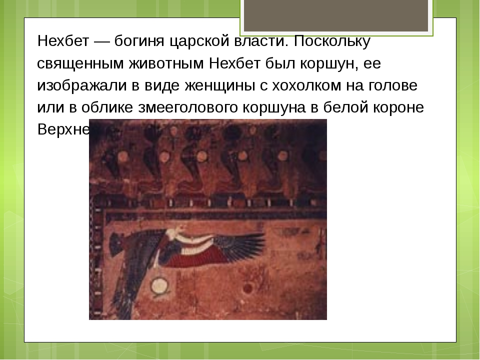 Нехбет — богиня царской власти. Поскольку священным животным Нехбет был коршу...