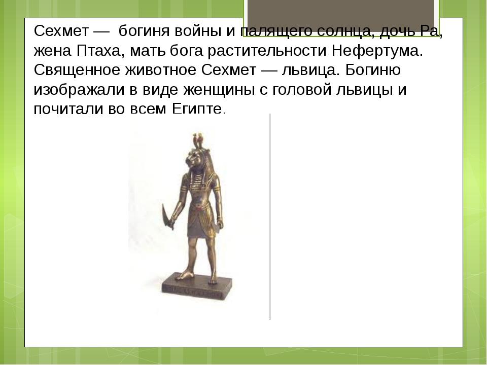 Сехмет — богиня войны и палящего солнца, дочь Ра, жена Птаха, мать бога расти...