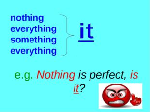 nothing everything something everything e.g. Nothing is perfect, is it?