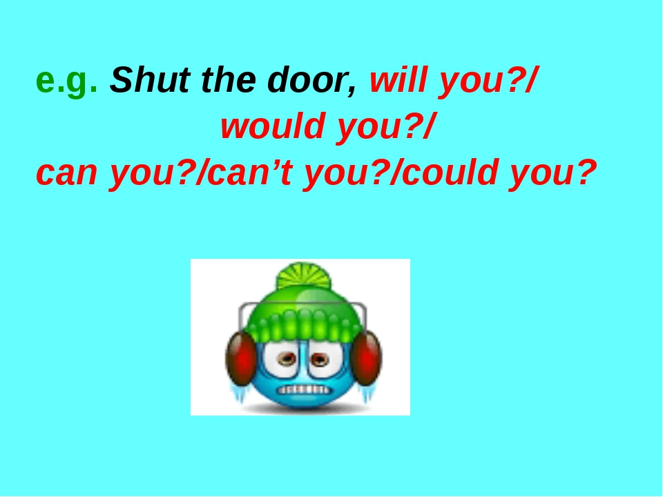 e.g. Shut the door, will you?/ would you?/ can you?/can't you?/could you?