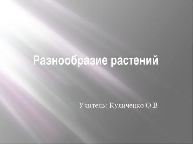 Разнообразие растений Учитель: Куличенко О.В