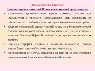 Этапы реализации Стратегии В рамках первого этапа (по 2013год включительно)