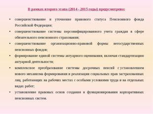 В рамках второго этапа (2014-2015годы) предусмотрено: совершенствование и