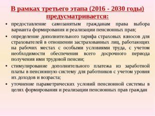 В рамках третьего этапа (2016-2030годы) предусматривается: предоставление