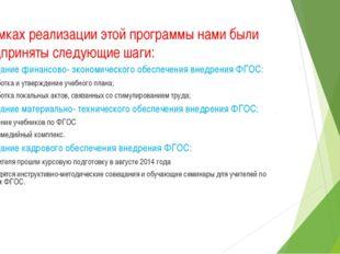 В рамках реализации этой программы нами были предприняты следующие шаги: 2)Со
