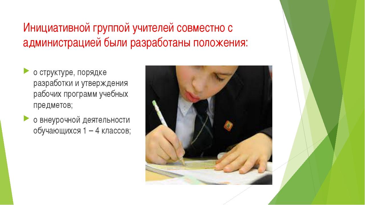 Инициативной группой учителей совместно с администрацией были разработаны пол...