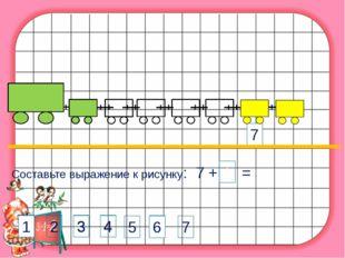 Составьте выражение к рисунку: 7 + 1 = 7 4 2 3 4 1 2 3 6 1 1 6 5 7