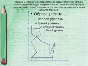Задание 2. Запишите последовательно координаты точек, которые были использова