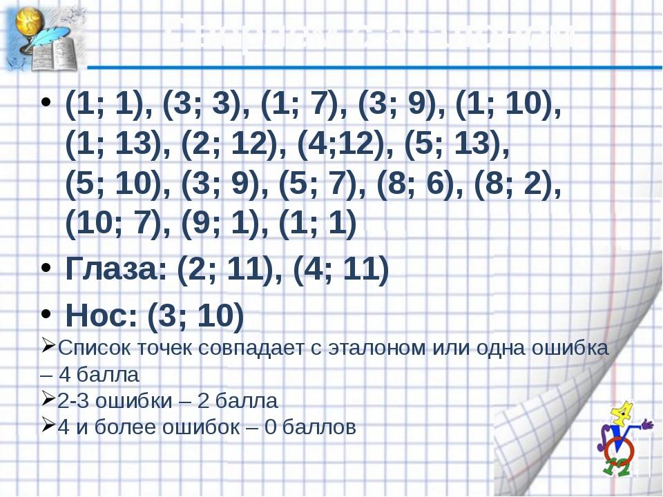 Сверяем с эталоном (1; 1), (3; 3), (1; 7), (3; 9), (1; 10), (1; 13), (2; 12),...