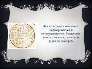 4) клетчатка растительная: перевариваемая и неперевариваемая, бесцветная или