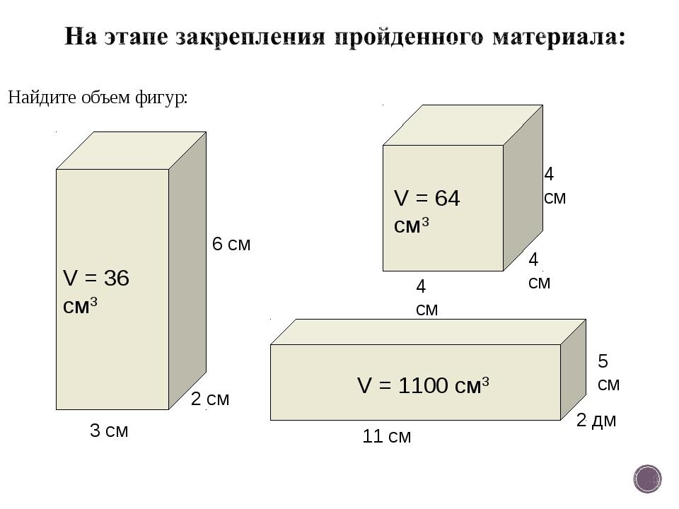 Найдите объем фигур: 2 см 3 см 6 см V = 36 см3 V = 1100 см3 V = 64 см3