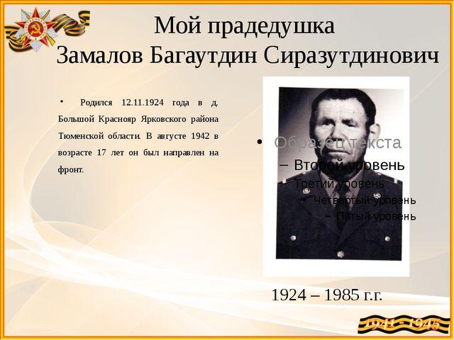 Мой прадедушка Замалов Багаутдин Сиразутдинович Родился 12.11.1924 года в д....