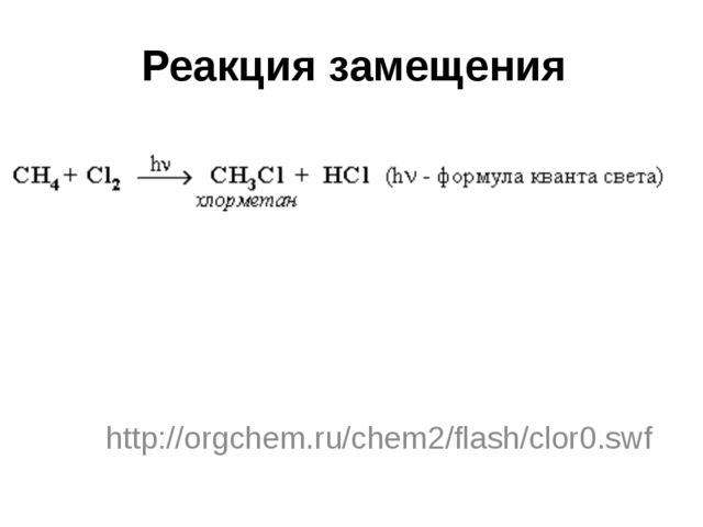 Реакция замещения http://orgchem.ru/chem2/flash/clor0.swf