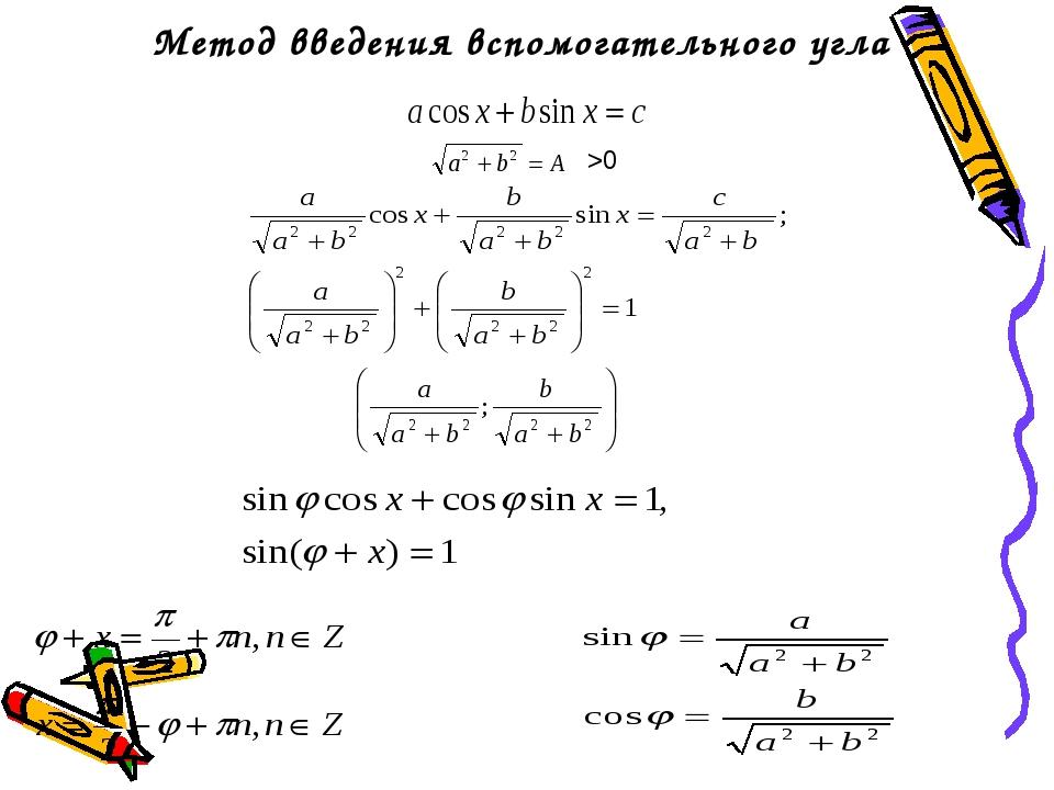 Метод введения вспомогательного угла >0