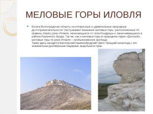 МЕЛОВЫЕ ГОРЫ ИЛОВЛЯ БогатаВолгоградская областьна интересные и удивительные