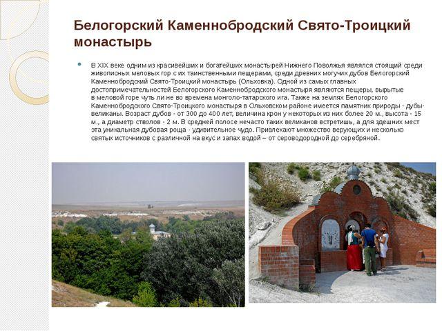 Белогорский Каменнобродский Свято-Троицкий монастырь В XIX веке одним из крас...