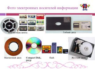 Фото электронных носителей информации Магнитная лента Магнитный диск Гибкий д