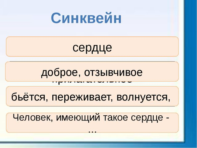 Синквейн существительное прилагательное , прилагательное глагол, глагол, глаг...