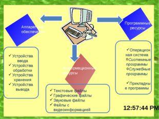Аппаратное обеспечение Информационные ресурсы Программные ресурсы Устройства