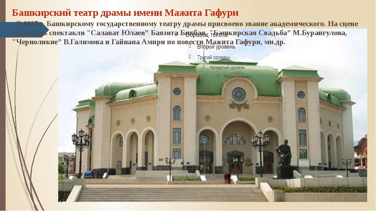 Башкирский театр драмы имени Мажита Гафури В 1935 г. Башкирскому государств...