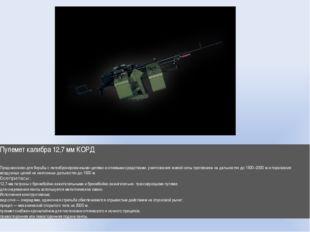 Пулемет калибра 12,7 мм КОРД Предназначен для борьбы слегкобронированными це