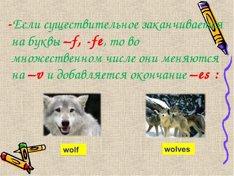 -Если существительное заканчивается на буквы –f, -fe, то во множественном чи...