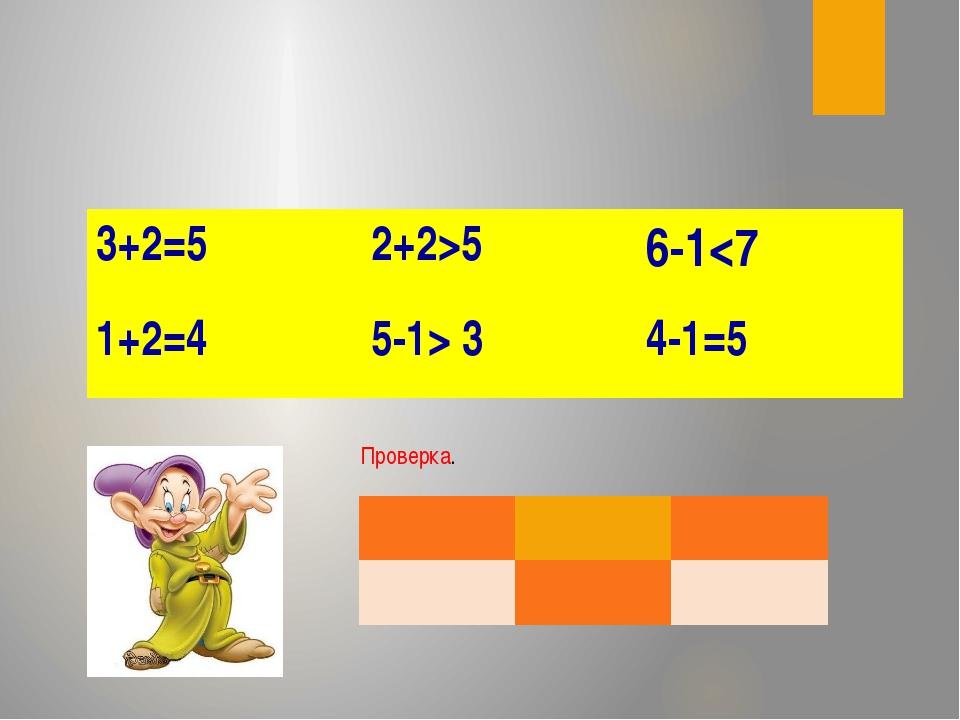 Проверка. 3+2=5 2+2>5 6-1 3 4-1=5