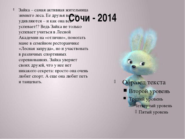 Сочи - 2014 Зайка – самая активная жительница зимнего леса. Ее друзья всегда...