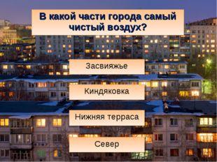 В какой части города самый чистый воздух? Нижняя терраса Север Засвияжье Кинд