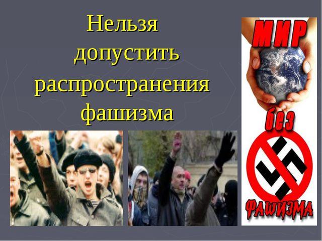 Нельзя допустить распространения фашизма