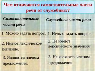 Самостоятельные части речи Служебные части речи 1. Можно задать вопрос. 1. Н