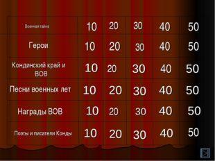 40 20 10 50 40 30 10 Военная тайна 50 30 20 10 Кондинский край и ВОВ Песни во