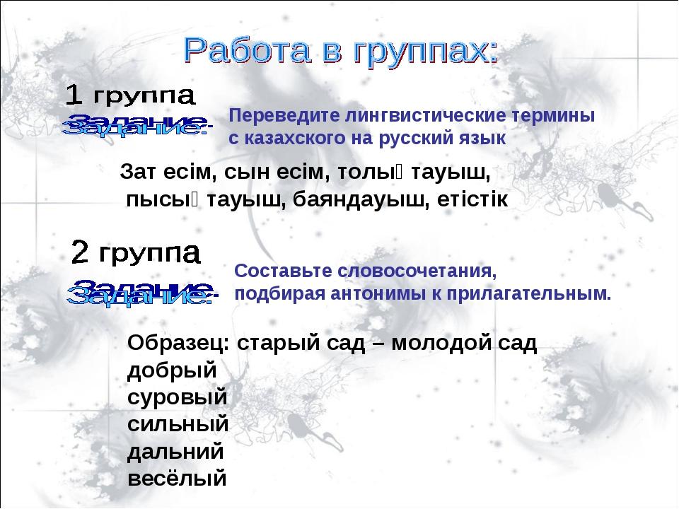 Переведите лингвистические термины с казахского на русский язык Зат есім, сын...