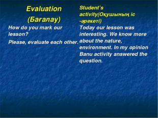 Evaluation (Бағалау)Student's activity(Оқушының іс -әрекеті) How do you mark