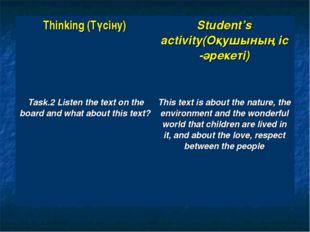 Thinking (Түсіну)Student's activity(Оқушының іс -әрекеті) Task.2 Listen the