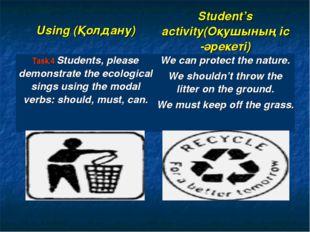 Using (Қолдану) Student's activity(Оқушының іс -әрекеті) Task.4 Students, p