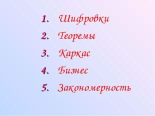 Шифровки Теоремы Каркас Закономерность Бизнес 1. 2. 3. 4. 5.
