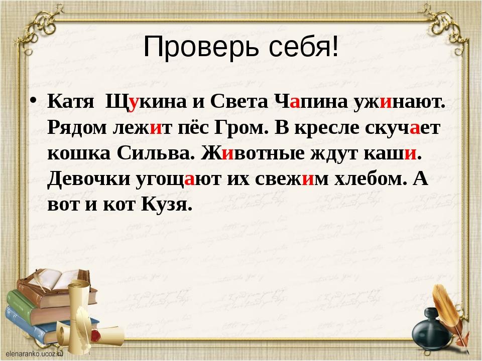 Проверь себя! Катя Щукина и Света Чапина ужинают. Рядом лежит пёс Гром. В кре...
